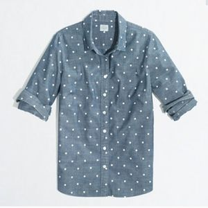 J. Crew The Perfect Shirt Chambray Polka Dot Shirt